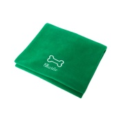 PetsPyjamas - Personalised Green Bone Dog Blanket - Italic font