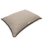 Mutts & Hounds - Grey Tweed Pillow Dog Bed with Pom Poms