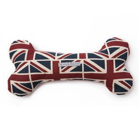 Union Jack Linen Squeaky Bone Toy