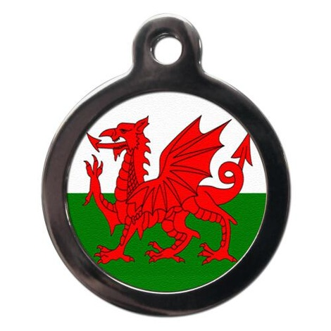 Red Dragon Flag Pet ID Tag