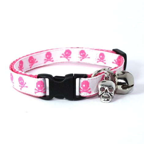 White Skull and Crossbones Safety Cat Collar