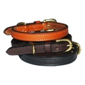 Flat Leather Dog Collar - Black