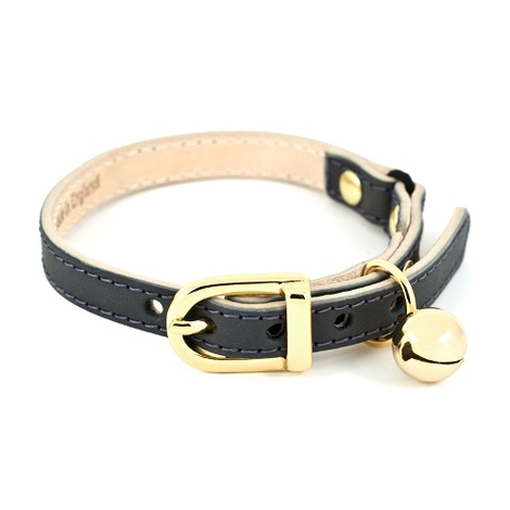 Slate Leather Cat Collar - Gold