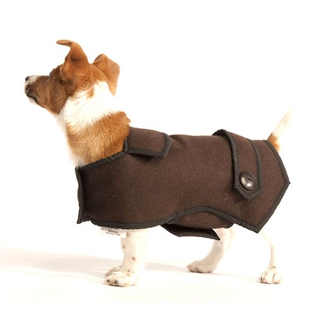 Brown Wool Casual Dog Coat