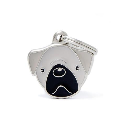 Pug Engraved ID Tag – Grey
