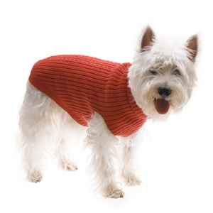 Cable Knit Dog Jumper - Red
