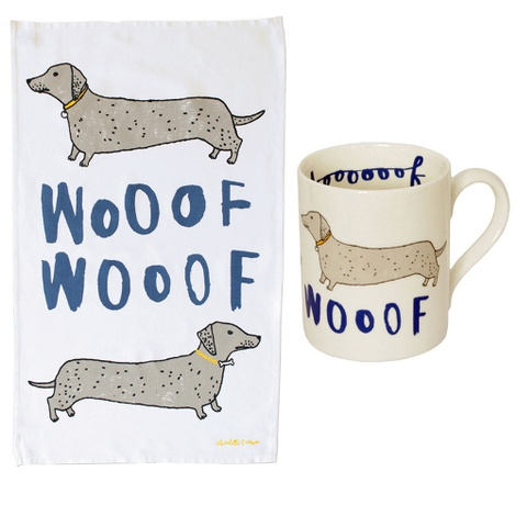 Wooof Tea Towel & Mug Gift Set