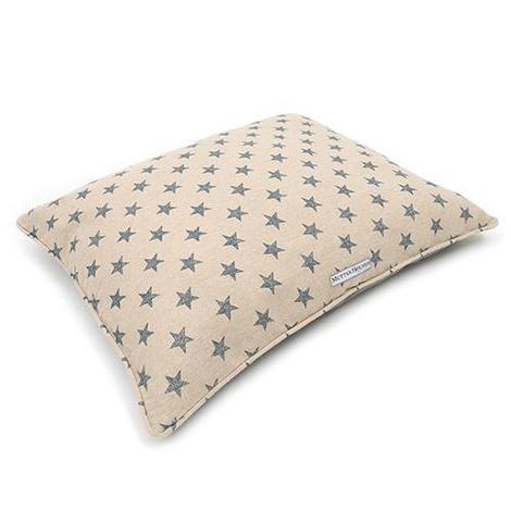 Navy Star Linen Pillow Dog Bed