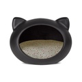 Black Cat Cave with Floral Cushion