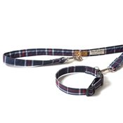 PetsPyjamas - Pawditch Blue Check Dog Collar & Lead Set