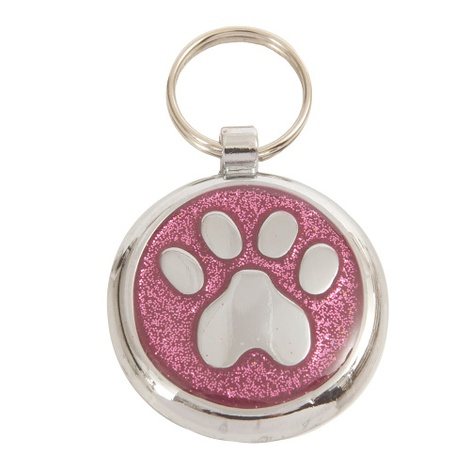 Shimmer Pretty Pink Paw Pet ID Tag