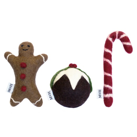 Wool Gingerbread Man Dog Toy 2