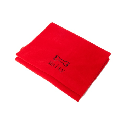 Personalised Red Dog Bone Blanket - Classic font