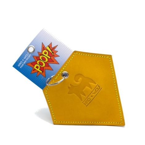 Leather Diamond Poo Pouch – Acacia Yellow 3