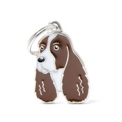 My Family - Springer Spaniel Engraved ID Tag – Brown & White