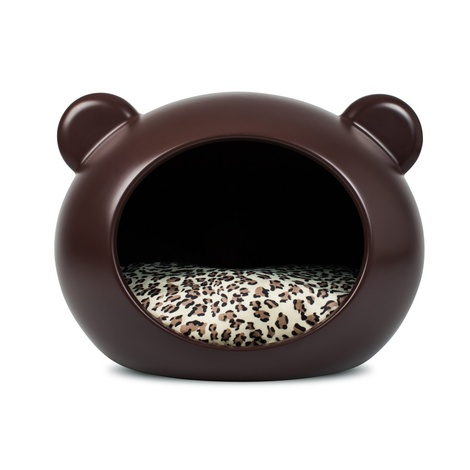 Medium Brown Dog Cave with Animal Print Cushion