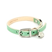 Linny - Baby Green Leather Cat Collar
