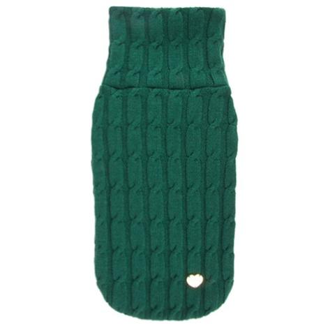 Green Braided Luxury Dog Sweater