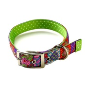 Yellow Dog - Crazy Hearts on Green Polka Collar Uptown Range