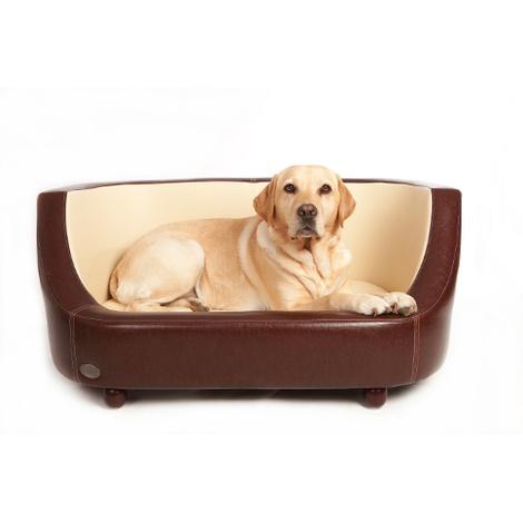 Oxford I Leather Pet Bed - Chestnut Beige