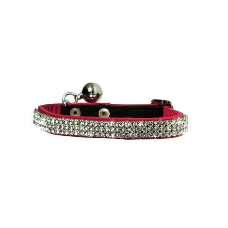 Crystal Princess Leather Cat Collar – Red