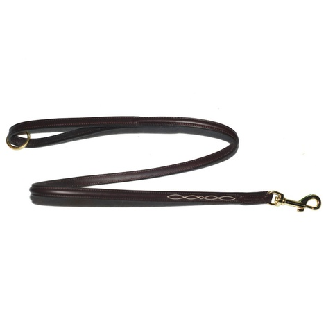 Embroidered Leather Dog Lead – Chocolate Brown