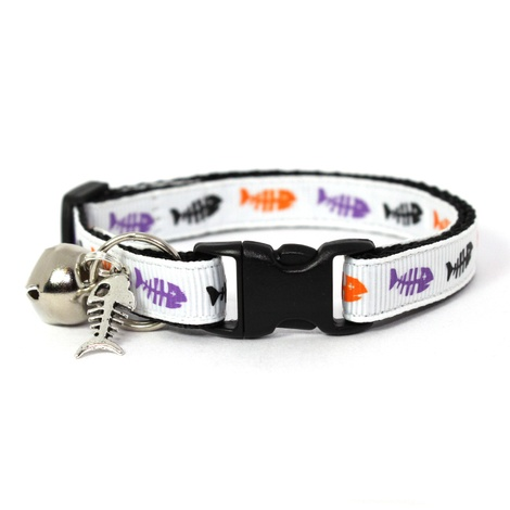 White Fishbones Safety Cat Collar