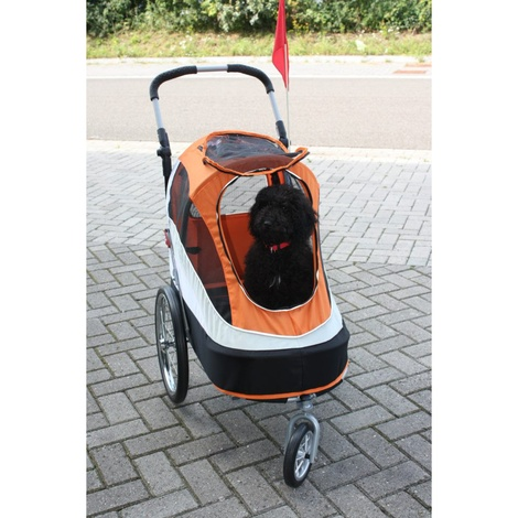 Orange/Black Sporty Dog Buggy & Trailer 4