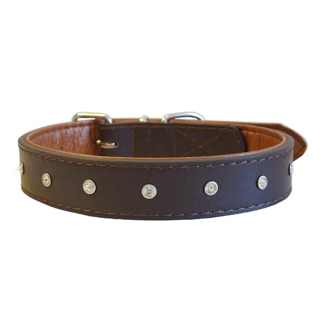 Diamante Rhinestone Dog Collar - Brown