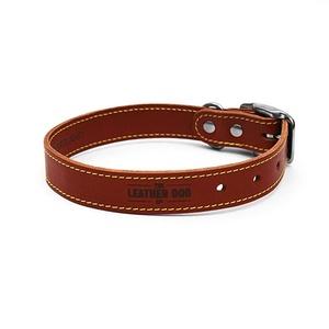 Tan Brown Leather Dog Collar