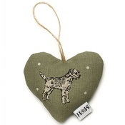 Mutts & Hounds - Dogs Linen Lavender Heart Green - Border Terrier