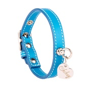 Chihuy - Light Blue and Silver Stitch Leather Collar