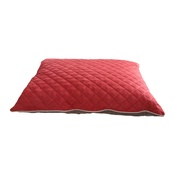 Hem & Boo - Quilted Cushion Dog Bed - Brick Red & Brown