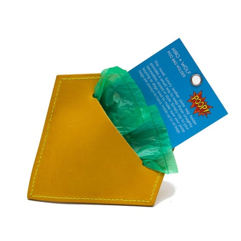 Leather Diamond Poo Pouch – Acacia Yellow 4