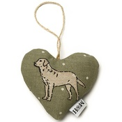 Mutts & Hounds - Dogs Linen Lavender Heart Green - Labrador