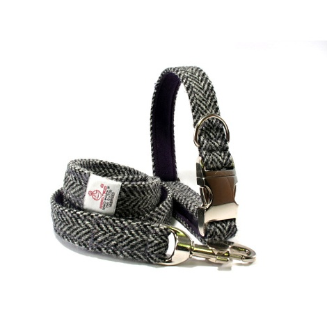 Collar & Lead Set - Grey Herringbone