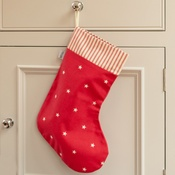 Mutts & Hounds - Cranberry Star Cotton & Red Ticking Stripe Stocking