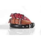 Kara Van Petrol - Fashion Leather Dog Collar in Biege