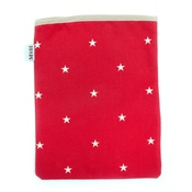 Mutts & Hounds - Cranberry Star Cotton with Red Ticking Ipad Case