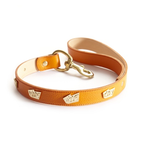 Woof Leather Dog Lead - Orange