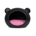 Medium Black Dog Cave with Pink Cushion