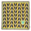 Boston Terrier Print Silk Scarf - Yellow & Mink 2