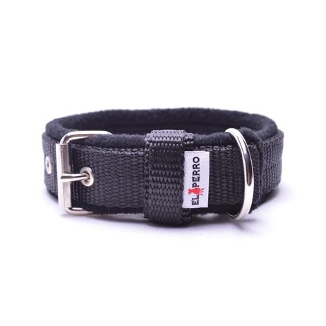 2.5cm width Fleece Comfort Dog Collar – Black
