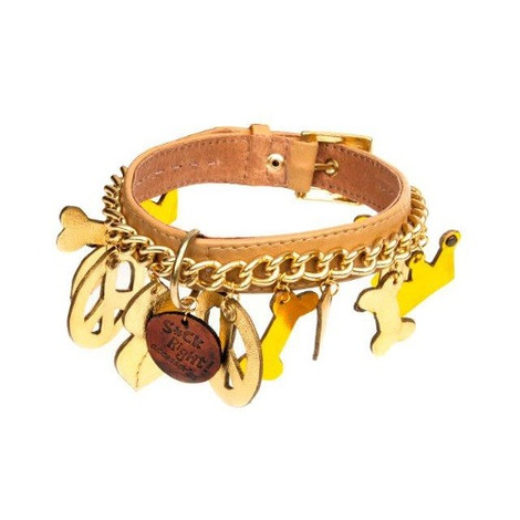 Gold Peace Dog Collar