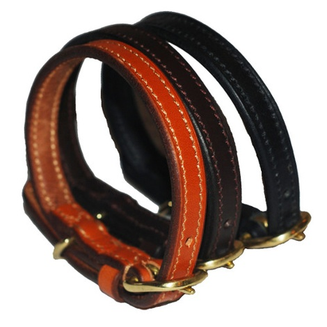 Flat Leather Dog Collar - Chocolate Brown 3