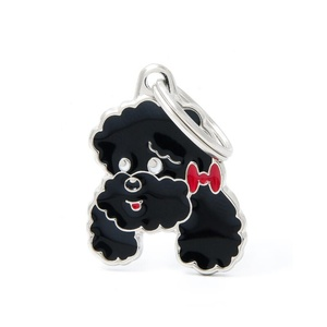 Poodle Engraved ID Tag – Black