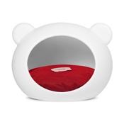 GuisaPet - Medium White Dog Cave with Red Cushion