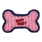 Pet Brands - Denim Striped Squeaky Dog Bone Red