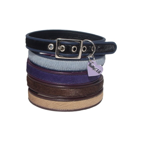 Lilac Grey Pebbles Dog Collar