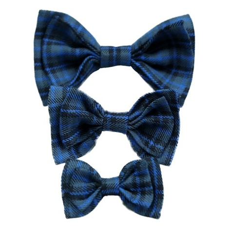 Dog Collar Bow Accessory - Tartan Blue 4